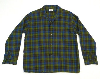Plaid Shirt Vintage Lord Carroll Size 16 16.5 Blue and Green Plaid Button Front Shirt Long Sleeves 1950s 1960s Checked Preppy Rockabilly