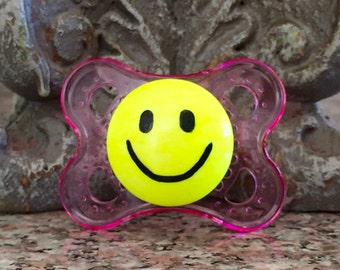 Neon Yellow Happy Face Custom Hand Painted Pink Pacifier by PiquantDesigns