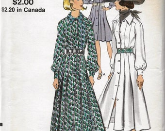 Vogue 7893 Womens 70s One Piece Shirt Dress Sewing Pattern Bust 36