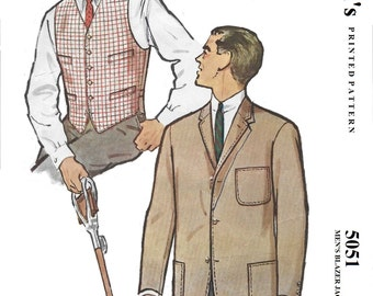 McCall's 5051 Men's 50s Single Breast Blazer Jacket & Vest Sewing Pattern