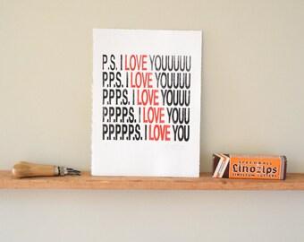 Valentines Anniversary Gift Wall Art PS I Love You linocut print, first, wedding present, girlfriend gift, boyfriend gift, handmade