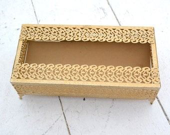 1960s Metal Filigree Tissue Box Holder