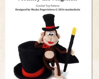 Monkey the Magician - pdf crochet toy pattern - amigurumi pattern - NEW