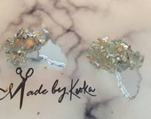 SILVER Mirror  Glitter Glass crusted Africa Studs