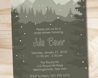 Winter Mountain Pine Winter Bridal Baby Shower Invitation - Printable digital file or printed invitations