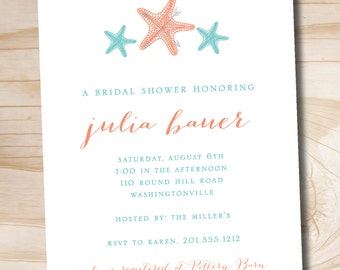 Coral and Turquoise Starfish Tropical invitation Bridal Shower Baby Shower Invitation - Printable digital file or printed invitations