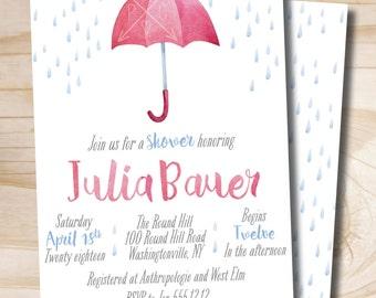 Pink Watercolor Umbrella Shower Invitation, Baby Shower, Bridal Shower - Digital or Printed Invitation