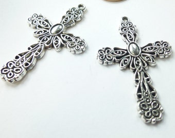 Filigree crosses etsy filigree cross pendant filigree cross charm medium large filigree cross pendant drops charms in antique silver aloadofball Image collections