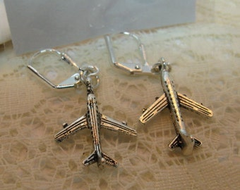 Flight Attendant Jewelry Flight Attendant Earrings Silver Jet Passenger Airplane Earrings