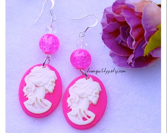 Skeleton Earrings , Lady Cameo , Day of the Dead Earrings , Hot Pink Skeleton Earings , Handmade By: Tranquilityy