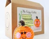 Crochet Orange Kit, Amigurumi Keychain Kit, DIY Craft, Learn to Crochet