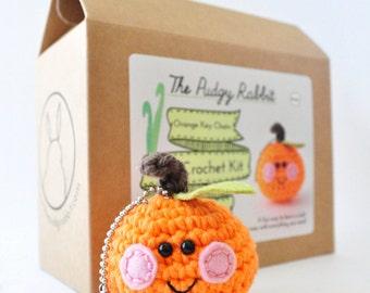 Orange Amigurumi Kit, Crochet Kit, DIY Key Chain, Learn to Crochet