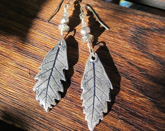 Earrings Silver Oak Leaf Dangles Gray Freshwater Pearl Pewter, Czech Glass Bead Sterling Silver Wire Hypoallergenic Shepherd Hook Fall Leaf
