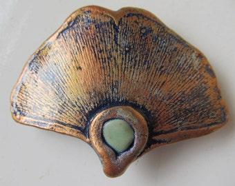 Barrette Ginkgo Leaf impression w/ Chrysoprase 60mm French Style Clip