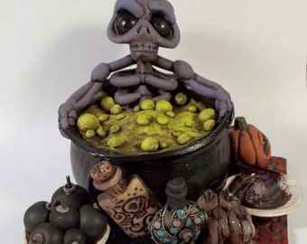 Skeleton in a Cauldron, Day Spa for the Dead, OOAK Polymer clay sculpture,Covington Creations
