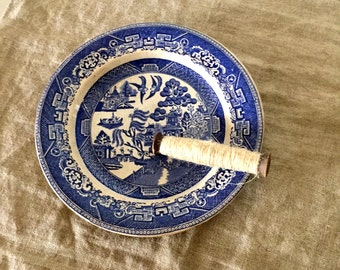 Antique blue and white WILLOW pattern VINTAGE china plate. My vintage home.