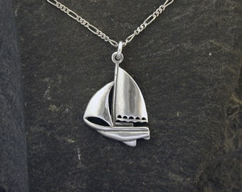 Sterling Silver Sloop Riged Sailboat Pendant on a Sterling Silver Chain