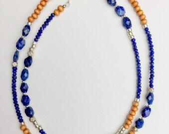 blue lapis choker lapis necklace wood bead necklace boho choker silver bead necklace surfer necklace blue necklace | Anahita lapis choker