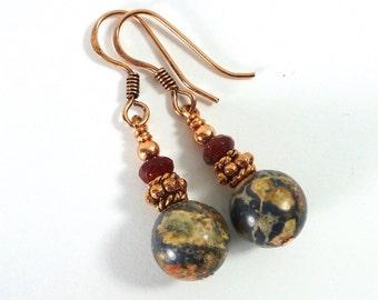 Leopard Jasper Earrings, Leopard Skin Jasper, Grey Stone Earrings, Copper Earrings