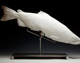Porcelain Salmon Illuminated Fish Sculpture ( Salmon Lamp) Steel Gyotaku