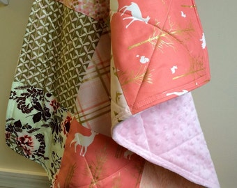 Small Baby Quilt - Car Seat Quilt - Baby Shower Gift, Pink, Coral, Sage Green, Gold,  Baby Blanket, Deer, Floral, Woodland