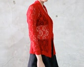 lace shirt, 90s vintage romantic sheer red lace long sleeved blouse top, 90's goth, womens small s