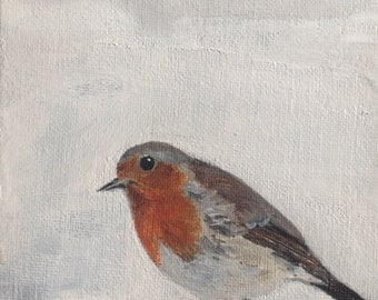 "Robin painting 7"" x 5"""