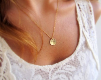 Gold disc necklace, Gold coin necklace, Tiny disc necklace, Minimalist jewelry, Dainty gold necklace, Gold necklace