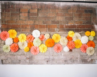 Wedding Ceremony Backdrop, Photo Booth Prop, Paper pompoms, Paper Pinwheels and fans, Coral and Peach Wedding Decor, neutral nursery decor