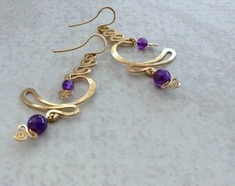14k Gold filled Amethyst earrings, MOON WAVE dangle earrings, long gypsy earring, boho, hippie, purple, statement, big, organic, nature