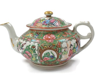 Rose Medallion Teapot - Antique Chinese Teapot, Hand Painted Teapot, Made in China, c.1920s