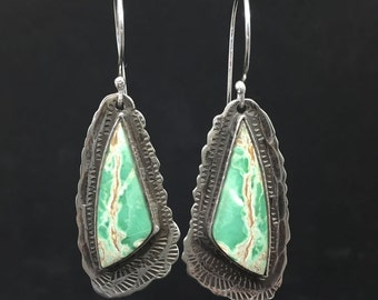 Handmade Variscite Earrings, Sterling Silver, Dangle Earrings, Butterfly Wings, Artisan Made Earrings, Made in NH, Modern, Stamped, Unique