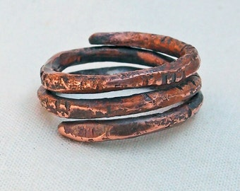 Copper Spiral Coil Ring Size 7.5 Hand Forged