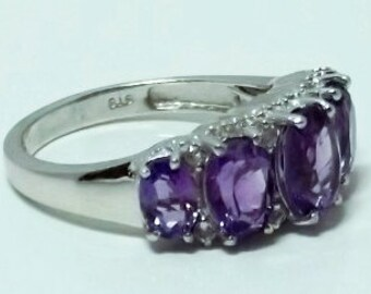 Amethyst, White Topaz Ring