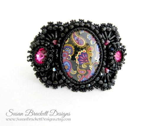 Beaded Bracelet Fashion Statement Cuff Black Cocktail Jewelry Bead Embroidered Bracelets Embroidery Cuffs Paisley Cabochon - CLEARANCE ITEM