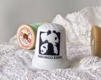 Vintage Panda Bear Thimble San Diego Zoo Thimble Collector Sewing Room California Souvenir Vintage 1980s