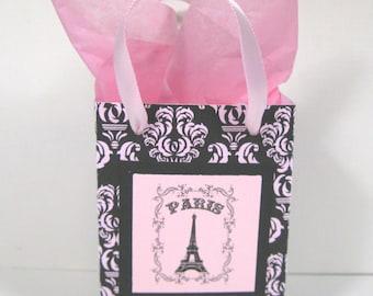 10 Paris Eiffel Tower Favor Bags - Ooh La La Party Favor Bags - Black and Pink Damask Favor Bags - Small Shopping Bags - Paris Gift Bags