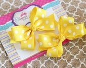 Infant Bows, Baby Bows, Toddler Bows, Girls Hair Bows, Boutique Hair Bows, Hair Clip, Yellow Pigtail Bows, Yellow Piggy Set, 3 Inch Bows