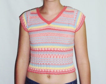 70s Stripe Top sweater, ribbed knit,  XS