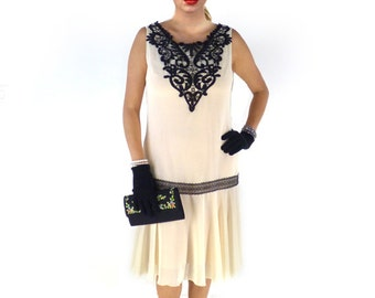Retro Flapper Dress, Great Gatsby Dress, Flapper Costume, 1920s Dress, 20s Dress, Roaring 20s Dress,Downton Abbey Dress,Cream Chiffon,Black