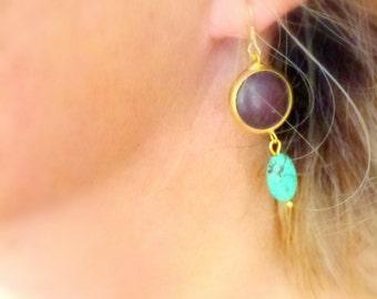 blue brown howlite double gem dangle earrings