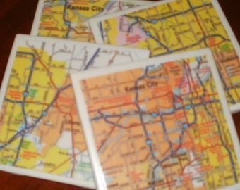 Coasters - Road Map of Kansas City, Kansas Map Coasters...Set of 4...For Drinks and Candles...Full Cork Bottoms NOT Felt