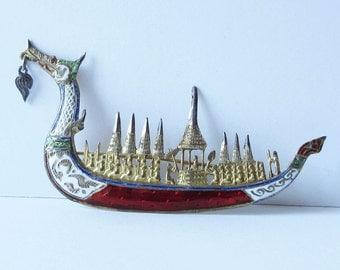 Dragon Boat Pin Brooch Sterling Thailand Enamel Pin Vintage Sterling Enamel Pin Brooch