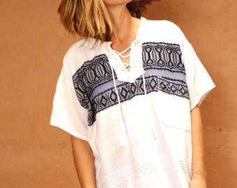 PEASANT shirt vintage 60s 70s psychedelic BOHO yoga top