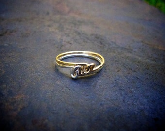 Little Love Knot Ring Set / Stacking Rings / Knotted Rings / Simple Silver Gold Rings