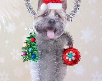 Cairn Terrier Christmas Ornament Feather Tree