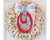 Memorial Day Burlap Wreath, 4th of July Wreath, Fourth of July Wreath, Patriotic Wreath, Summer Burlap Wreath, Red White and Blue