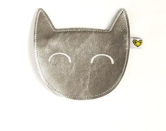 Kitty coin purse in silver
