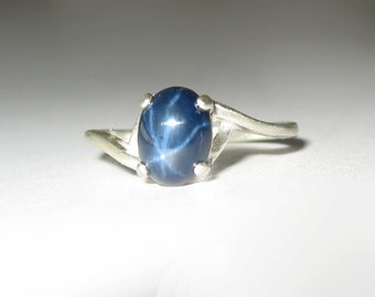 Natural Blue Star Sapphire In Sterling Silver Ring 2.05ct. Size 6.75