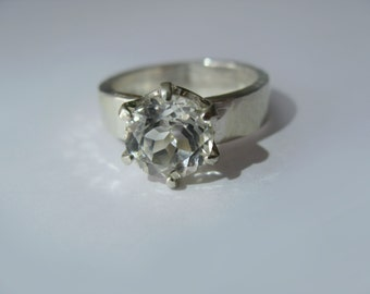 Natural White Topaz In Sterling Silver Ring, 2.8ct. Size 7.5